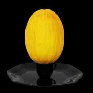 Leerer Teller mit leerer Tasse, auf der eine Melone ist.